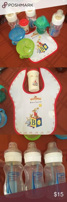 Assorted toddler/baby stuff! 3-8 oz Dr. Brown's Bottles. Nipples are size 2 and 3, but you can buy new ones for like $3 in the size you'd like. Travel tops included. I bought these towards the end of bottle use so they really weren't used that much!    One Tommy Tippee cup, 4 oz with sippy cup spout. Royal Doulton Bunnykins bib and sippy cup (that cup is small). 2 munchkin snack containers. All things you can never have enough of! Dr. Brown's Accessories