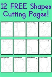 These shapes cutting worksheets for preschool and kindergarten are completely free and easy to print and use! There's a link below the last image where you can print all twelve of the shapes scissor...