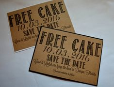 FREE CAKE Save the Date Cards funny kraft rustic save-the-date card kraft funny save the date wedding invitation save the date birthday card
