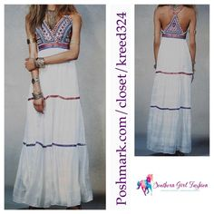 FREE PEOPLE Dress Beaded Cocktail Maxi Gown Prom Size 10. New with tags. $350 Retail + Tax.  Stunning gauzy dress with beaded bodice.  Adjustable metallic straps and trim. Tiered skirt with ribbon detail. Side zip closure.   Cotton, polyester, metallic, viscose.  Imported.    ❗️ Please - no trades, PP, holds, or Modeling.    Bundle 2+ items for a 20% discount!    Stop by my closet for even more items from this brand!  ✔️ Items are priced to sell, however reasonable offers will be considered…