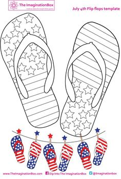 Get in the July 4th spirit and make some stars and stripes flipflop bunting with this coloring activity