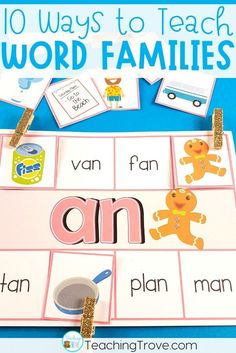 Word family activities for kindergarten and first grade are perfect for your literacy centers and word work stations. Your kids will have so much fun learning their short vowel sounds with the worksheets, posters, games and activities in this pack of 19 word families. #wordfamilies  #shortvowelsounds  #shortvowelwordfamilies