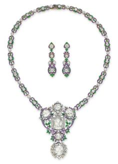 A Set of Belle Epoque Diamond and Enamel Jewelry, by Paulding Farnham, Tiffany & Co.Designed as an openwork enamel foliate plaque, set with rose-cut diamonds and enhanced with collet-set circular-cut diamonds, to the foliate link neckchain, set with collet-set old European-cut diamonds; and a pair of ear pendants en suite, mounted in platinum and gold, circa 1900, 14¼ ins.  Necklace signed Tiffany & Co., by Paulding Farnham; ear pendants not signed (2)
