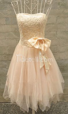 New Fashion Homecoming Dress Hot A-line Strapless Tulle Short Homecoming Dresses Asymmetric Bows