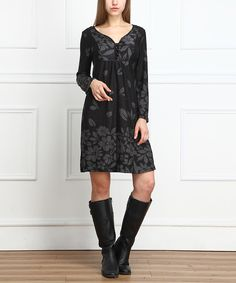 Another great find on #zulily! Charcoal Floral Button-Front Dress by Reborn Collection #zulilyfinds
