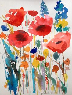 Original Watercolour Painting 'Big Red Poppies' Signed Annabel Burton