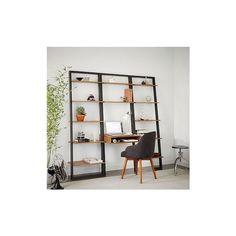 West Elm Ladder Shelf Storage Desk Set 2, Wall Desk + 2 Wide Shelves,... ($621) ❤ liked on Polyvore featuring home, furniture, desks, storage shelves, wall storage shelves, book shelf, wall mount shelf and wall storage shelf