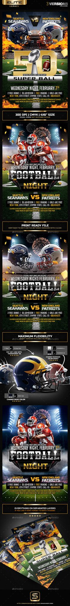 $9 -  American Football Flyer   #super bowl l #Super Bowl Party #superbowl