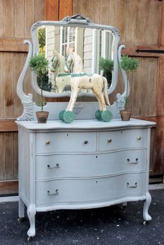 Chalk Paint Refinishing with Blue Egg Brown Nest