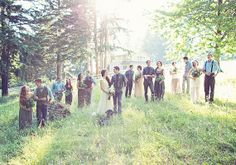 Romantic, Nostalgic, Love the way the bridesmaids and groomsmen do not all match ;)