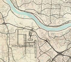 CINCINNATI Canvas print OH Ohio Vintage map by NatalyBorichArt