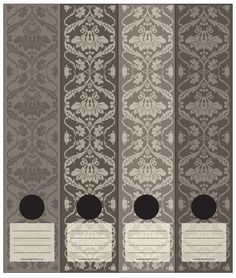 Antique wallpaper inspired Lever Arch labels in brown and a touch of charcoal.