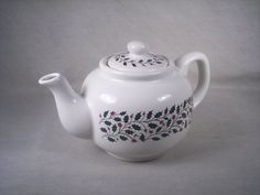 Ceramic Christmas Teapot Tea Pot Red Holly by SnapshotsThroughTime