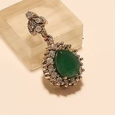 Natural Zambian Emerald Charm Pendant 925 Sterling Silver Statement Jewelry Gift #Handmade #Charm #EngagementGift Zambian Emerald, Turkish Jewelry, Statement Jewelry, Jewelry Gifts, Gemstone Rings, Charmed, India, Jewels, Sterling Silver