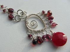 Garnet Charm Necklace by BellaBerlinJewels