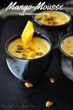 Mango-Mousse (Eggless, Gelatin-Free, Two Ingredient,Easy). Made with fresh Mangoes.