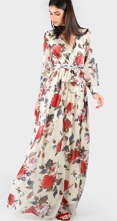 Floral Print Chiffon Maxi Dress CREAM