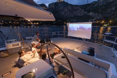 Watching a movie on the yacht Yacht Boat, Yacht Design, Luxury Accommodation, 7 Months, Models, Live Life, Rooftop, Making Ideas, Outdoor Spaces
