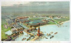 Official Bird's Eye View painted postcard of The Worlds Columbian Exposition in Chicago in 1893 World's Columbian Exposition, Pictorial Maps, White City, The Masterpiece, World's Fair, Birds Eye View, Urban Landscape, Canvas Art Prints, Framed Canvas