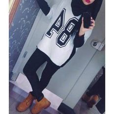 84 and red lip. #hijab Guess i need to cop some long jerseys and some Timbs!!! cute, Modest, and comfy. Looks like something I would look great in! lol