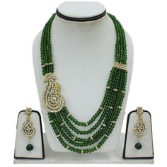 FASHION LOOK 3 PC BOTTLE GREEN BEADED 5 STRAND CZ GOLD TONE NECKLACE SET-CZ Necklace Set - IndiaTrend - Jewellery, Apparels & Accessories - FREE delivery worldwide