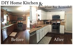 Change the look of your kitchen by painting wood cabinets white! Check out this DIY Home Kitchen and Breakfast Bar remodel.~ Life Sprinkled With Glitter