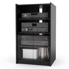 Stereo cabinet - Learn how to transform an old stereo in storage unit toiletries. Materials and tools: measuring tape, square, marking tools, punch out, Stereo Cabinet, Media Cabinet, Cd Storage, Locker Storage, Hifi Stand, Tv Stand Plans, Audio Rack, Free Standing Cabinets, Mahogany Furniture