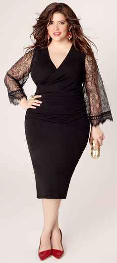 Totally love this form-hugging cocktail dress with lace flared sleeves. Perfect for curvy hourglass body shapes.