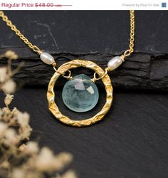 20 OFF SALE  Aquamarine Necklace  March Birthstone door delezhen
