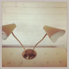 Vintage desk lamp. Metal dual neck awesomeness.