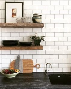 In love with the brushed granite countertops in this IKEA kitchen. The homeowners chose them as a less expensive alternative to soapstone. I want to pet them. ( the countertops, not the homeowners ) : @vestigehome #ikeakitchen