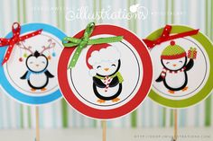 Boy Jolly Penguins Tags - JW Illustrations- Cute Christmas Printable Cupcake Topper Tags #Christmas #diy #holidays