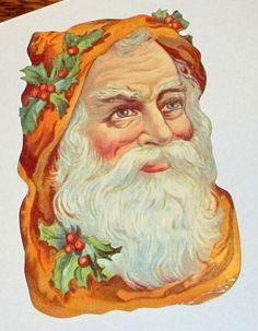 VICTORIAN GERMAN LG ORANGE CHRISTMAS SANTA CLAUS HEAD FACE DIE CUT SCRAP EF 5095 #EF