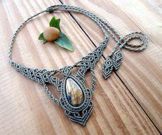 Collier macramé de labradorite bijoux collier de par SelinofosArt