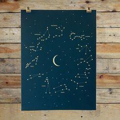 Die Sterne sind mit dem Poster von Holstee zum Greifen nah und zeigen uns auf dezente Weise die Sternenbilder unserer Sternzeichen. Der abnehmende Mond in der Mitte des Posters unterstützt den Tierkreis und macht das dezente Poster komplett.