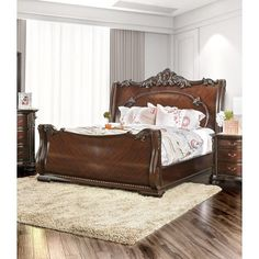 online shopping for Furniture America Luxury Brown Cherry Baroque-Style Sleigh Bed Queen from top store. See new offer for Furniture America Luxury Brown Cherry Baroque-Style Sleigh Bed Queen Bedroom Furniture Stores, Furniture Deals, Space Saving Furniture, King Furniture, Wood Sleigh Bed, Sleigh Beds, King Beds, Queen Beds, Best Platform Beds