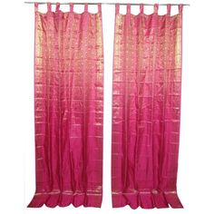 2 India Sari Curtains Pink Gold Saree Drapes Panels Window Treatment... ($64) ❤ liked on Polyvore featuring home, home decor, window treatments, curtains and sari curtains