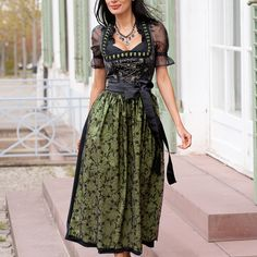 An alluring, beautiful blend of mossy green and midnight black. Traditional Fashion, Traditional Outfits, Oktoberfest Costume, Dirndl Dress, German Fashion, Folk Costume, One Piece Dress, Dressy Outfits, Playing Dress Up