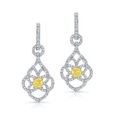 18K WHITE AND YELLOW GOLD ELEGANT DROP EARRINGS FEATURING TWO NATURAL FANCY YELLOW CUSHION DIAMONDS TOTALING 1.02 CARAT AND DESIGNED WITH ROUND WHITE DIAMONDS