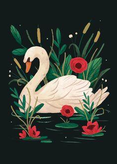 Natürmort Gauche Painting, Art Inspo, Christmas Illustration, Children's Book Illustration, Christmas Canvas, Swan Drawing, 12 Days Of Christmas, Swan Painting, Gouache