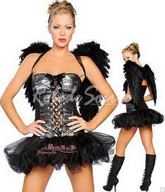 Déguisement Ange-Robe bustier costume noir aile d\'ange