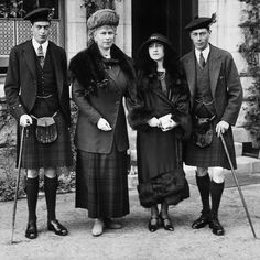 The future King George VI (far right) wore tartan during a visit to the family's Scottish retreat of Balmoral with his wife Elizabeth (right), mother Queen Mary (middle) and brother George, Duke of Kent, also in a tartan kilt (far left). Having two brothers named George may seem unusual, but prior to taking the throne the future King went by the name Bertie. When he agreed to wear the crown after his older brother Edward abdicated, Bertie changed his name to honour his late father. Lady Elizabeth, Princess Elizabeth, Princess Victoria, Princess Mary, King George Brother, George Duke, Queen Victoria Husband, Queen Mary Reign, Kensington