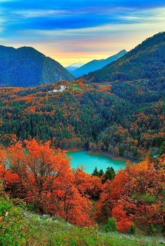 Plastira lake in autumn- Greece