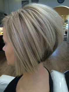 Cool blonde color and sharp inverted Bob I created