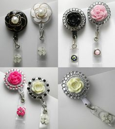 3D Retractable Reel Bling ID Badge Holders Handmade Rhinestones Flower Pearl | eBay