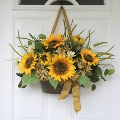 Summer Wreaths Sunflower Wreaths Front Door Decor by ReginasGarden, $75.00