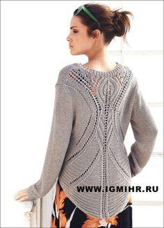 Классический серо-коричневый пуловер с V-образным вырезом и очень эффектной спинкой, от Lana Grossa. Спицы. Обсуждение на LiveInternet - Российский Сервис Онлайн-Дневников