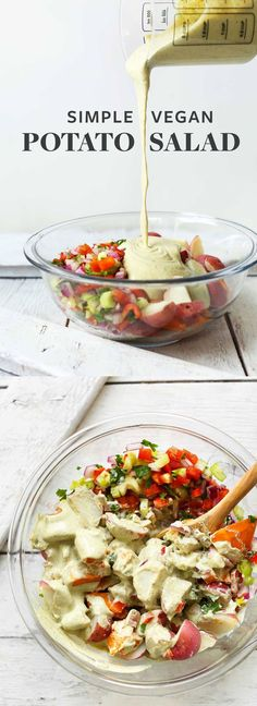 Easy, 10-ingredient vegan potato salad with red potatoes, fresh vegetables, and a tangy garlic-herb cashew sauce! A hearty, healthy, plant-based side.