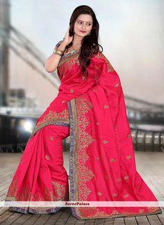 Red Shaded Bhagalpuri Silk Saree