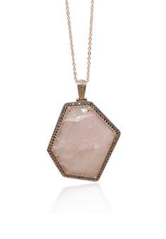 MARC Sterling Silver Pink Quartz Marcasite Large Hexagon Pendant & Chain $179